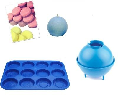 Set x 2, Sphere Round Candle Mould & Wax Melt Tart Tray, Swirl, Heart etc. S7763