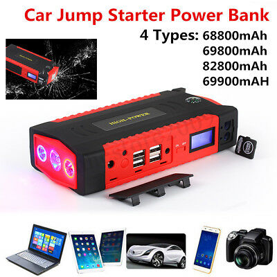 68800mAh - 82800mAh Car Jump Starter 4 USB Emergency Charger Power Bank Battery