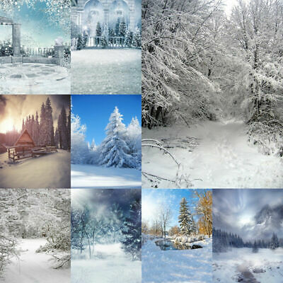 Winter Christmas Photo Background Photography Backdrop White Snowfield Forest