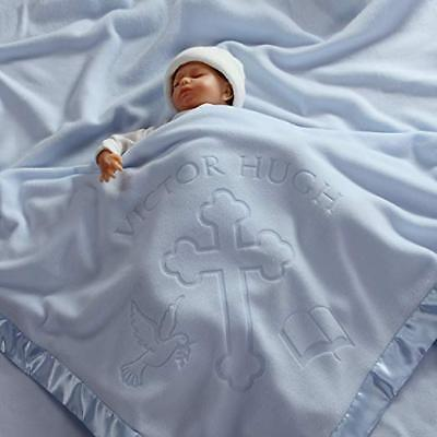 Baptism/Christening Baby Blanket Gift for Boys - Personalized Cross and Bible