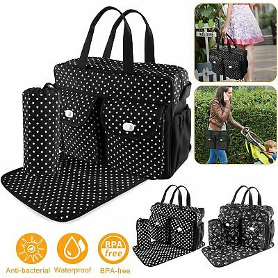 3Pcs/Set Baby Nappie Diaper Changing Bags Large Mummy Bag Travel Handbag Tote UK