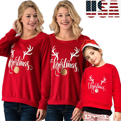 Xmas Christmas Elk Print Long Sleeve Women Sweatshirt Pullover Blouse Shirt Tops