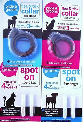 Pride & Groom Flea and Tick Spot On Treatment & Collars for Kitten Cat or Dog