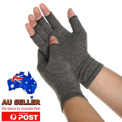 Copper Compression Arthritis Gloves Wrist Hand Support Sleeves Joint Pain Relief
