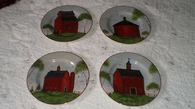 Vintage 1998 Barns, Sakura Warren Kimble 4-Piece Dessert/Salad Plate Set