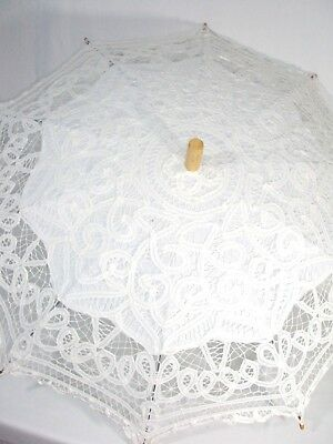 White Battenburg Lace Umbrella Parasol Victorian Bridal Sun Shade Large 34 Inch