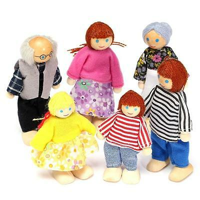 Wooden Furniture Dolls House Family Miniature 6 People Set Doll Toys Kids Gift