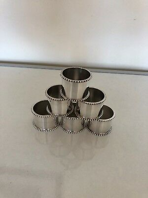 Lovely Set Of 6 Nice Silver Plated Napking Rings With Beaded Borders