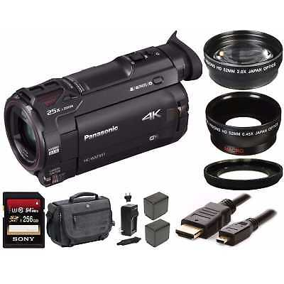 Panasonic HC-WXF991K 4K Camcorder w/ 256GB SD Card, 2 Spare Battery Bundle