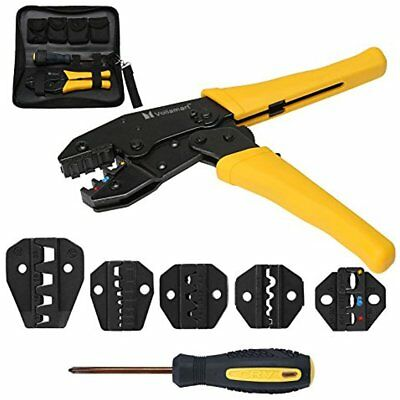 Crimping Tool Kit Terminal Ratchet Plier Crimper 5 Interchangeable Die Sets Wire