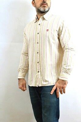 Timberland Mens Casual Shirt Cotton Long Sleeved Striped Multis VTG 90s M Cotton