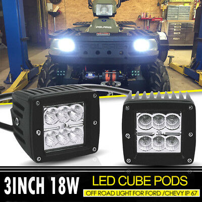 2x3inch 18W Flood Led Work Light Reverse Cube Pods Offroad Light For SUV UTV 4WD