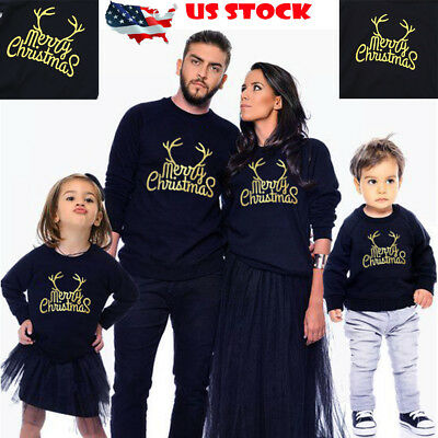 US XMAS Mom Dad Kids Family Matching Christmas Outfit Parent-child Top Clothes