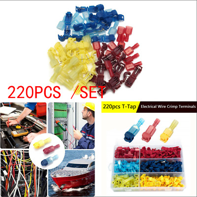 220pc Insulated Quick Splice Wire Terminals T-Tap Kit Male Spade Wire Connectors
