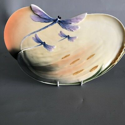 Signed Jen Woo Franz Dragonfly & Corn Wheat Decoration Porcelain Sandwich Plate