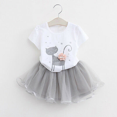 Kids Baby Girls Princess Outfits T-Shirt Tops+Tutu Skirt Dress Clothes Set AB