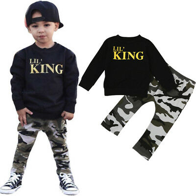 UK Toddler Baby Boys Shirt Top+Camouflage Trousers Outfits Clothes Set Tracksuit