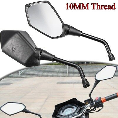 2x Universal Motorcycle Rearview Side Mirrors For Honda Suzuki Harley 10mm Bolt