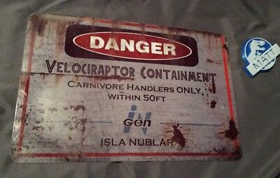 Jurassic Park Velociraptor Metal Danger Sign Isla Nublar Raptor Blue World 8x12