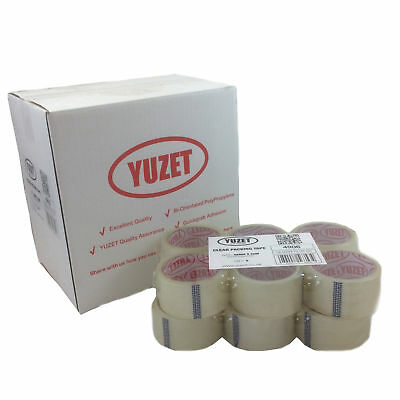 12 Rolls Yuzet Clear Packaging Tape 48mm x 66m Carton Box Sealing Packing
