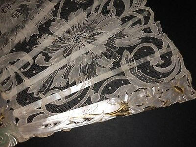 Great Antique French Art Nouveau Carved Gold Mother Of Pearl Lace Painted Fan