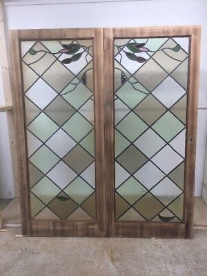 Restored Stained Glass Doors Antique Period Reclaimed French Double Lead Lattice