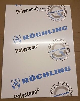 6mm White Smooth Polypropylene Sheet 800mm x 600mm