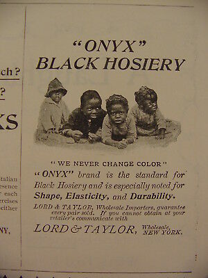 1897 Onyx Black Hosiery Black Americana Children Never Change Color Print Ad