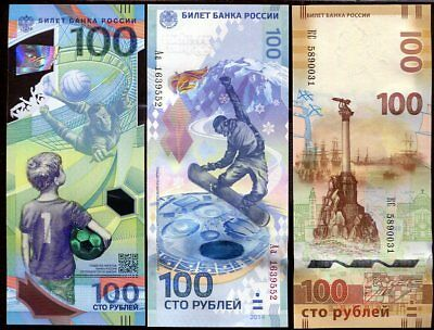 Russia Set 3 Unc 100 Ruble Football Polymer Sochi Hybrid Crimea 2014 2015 2018