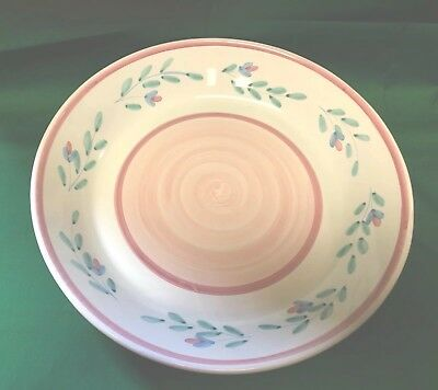 "Vintage Caleca Pink Garland 14"" Pasta Serving Bowl Made In Italy EUC!"