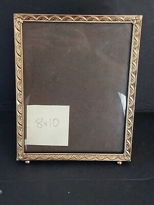 Vintage Mid-Century Gold Brass Metal Embossed Photo Picture Frame 8x10
