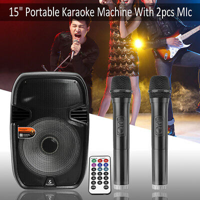 "15"" PA System Bluetooth Speaker for Karaoke W/ LED DJ Light +2 MICS +Remote"