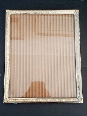 Vintage Mid-Century Gold Brass Metal Embossed Photo Picture Frame 8x10  frame#2