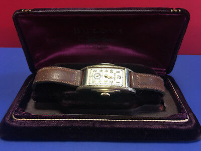 Vtg 10K Rolled Yellow Gold Plate Bulova Watch Art Deco Step-Side Wristwatch