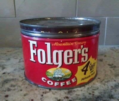Vintage Folger's Coffee Tin & Lid Copyright 1959 Great condition!