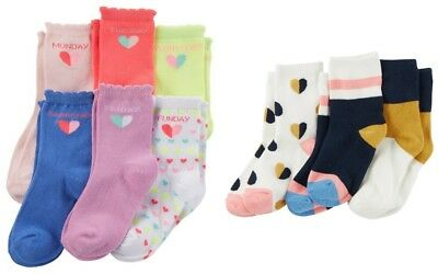 Carter's Girls' 6-Pack Pastel Days of Week Socks + 3-Pack Hearts & Stripes NWT