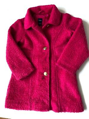 BABY GAP Girls Hot Pink Mohair Blend Gold Button Fitted Coat Jacket Sz 5