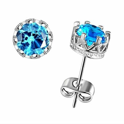 Nice New White Gold Silver Plated Round Crown Set Blue Topaz CZ Stud Earrings