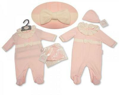 Baby Girl Spanish Style outfit  All in one Baby Grow Bow Hat Pink NB 0-3 months