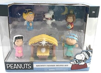 Peanuts Nativity Figures Deluxe Set Christmas 7 Pc '17 Collectible Charlie Brown