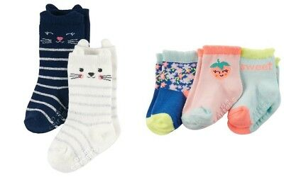 Carters Infant Girls' 2-Pack of Cat Face Socks & 3-Pack Floral/Strawberries NWT
