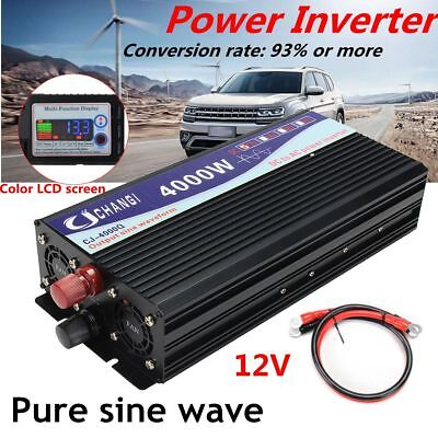 4000/8000W Peak LCD Power Inverter Pure Sine Wave 12V 220V Convertitore Charger