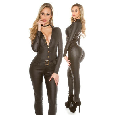 Sexy Jumpsuit Tuta Overall Ecopelle Faux Leather Wetlook Hot Black S M L