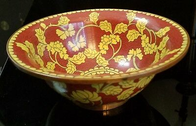 """6 3/8"""" Antique Chinese Cloisonne Scalloped Bowl with Yellow Flowers & Copper rim"""