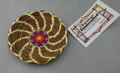 Authentic Native American Cherokee Indian Signed Pine Needle Basket