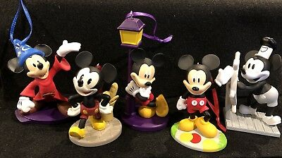 Disney 90th Anniversary Mickey Mouse Christmas Ornament 5 P Set Steamboat Willie