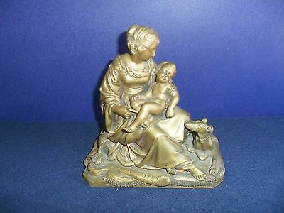 Antique Brass/Bronze Cast Sculpture Lady W/ Child & Dog Heavy Rare !