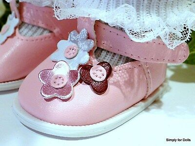"""PINK w/ FLOWERS T-Straps DOLL SHOES fits 18"""" AMERICAN GIRL Doll Clothes"""
