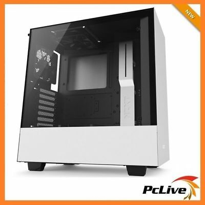 NZXT Matte White H500 Gaming Case Tempered Glass Window Quiet Mid Tower ATX USB3