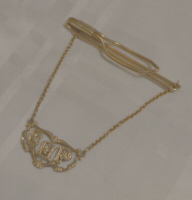 Gold Filled Tie Slide / Bar / Clasp With Chain Masonic Excellent High Priest